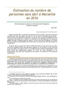Estimation du nombre de personnes sans abri à Marseille en 2016