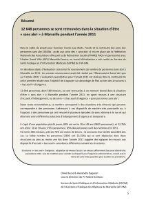 Estimation du nombre de personnes sans abri à Marseille en 2011